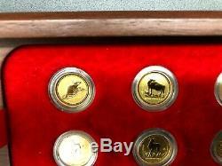 AUSTRALIAN 1/20 oz GOLD LUNAR COINS SET 1996 2007 SERIES I COMPLETE JARRAH