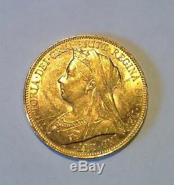 AUSTRALIA / 1901 Melbourne Mint Full Sovereign Queen Victoria