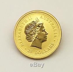 AUSTRALIA 2001- 25 Dollars 1/4 OZ. 9999 Gold Coin-Lunar Year of The Snake- BU