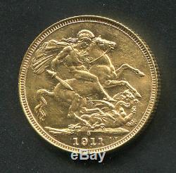AUSTRALIA Full Sovereign Gold Coin 1911 KM#29 George V