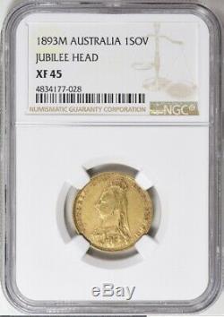 Antique Jubilee 1893 Australia ONE SOVEREIGN GOLD COIN NGC XF45 Ebucks
