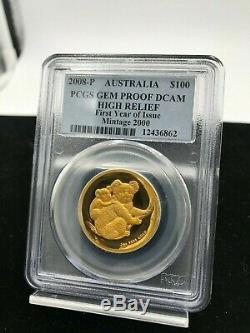 Australia $100 2008-P Koala PCGS GEM PROOF DCAM HIGH RELIEF 1 oz. 9999 Gold