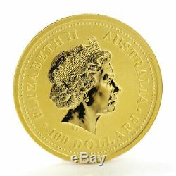 Australia 100 dollars Year of the Rooster 1 oz gold coin 2005