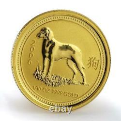 Australia 15 dollars Lunar calendar Year of Dog gold coin 1/10 oz 2006