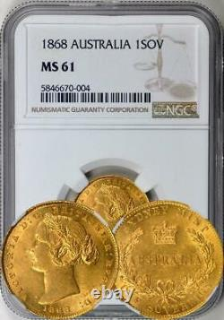 Australia 1868-SY Gold 1 Sovereign NGC MS-61 Rare in UNC! Undergraded