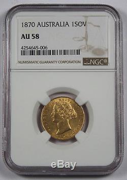 Australia 1870 S 1 Sovereign Sov Gold Coin NGC AU58 Sydney Mint KM4 Choice AU
