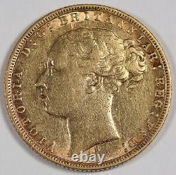 Australia 1873 S 1 Sovereign Sov Gold Coin Sydney Victoria Young Head XF KM#6
