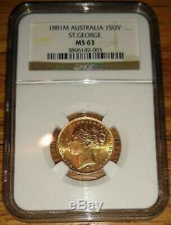 Australia 1881M Gold Sovereign Victoria St. George, NGC MS63