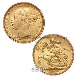 Australia 1884 Gold Sovereign Queen Victoria Young BU Uncirculated. 2355 Ounce