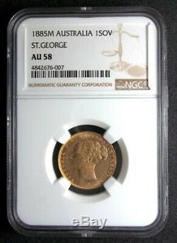 Australia 1885 M Victoria Sovereign Ngc Au58 Gold 1sov Km7