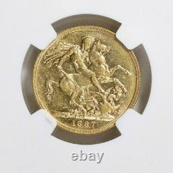 Australia 1887-M Gold Sovereign Young Head St. George NGC AU-53