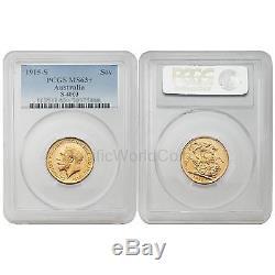 Australia 1915 S Sovereign Gold PCGS MS63+