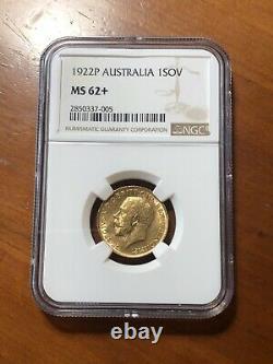 Australia 1922-P Perth Gold Sovereign NGC MS62+