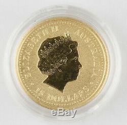 Australia 2000 $15 1/10 Oz 9999 Gold Coin Lunar Year of Dragon GEM BU