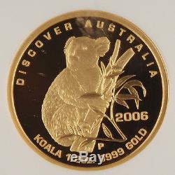 Australia 2006 P $50 Koala 1/2 Oz Gold Proof Coin NGC PF70 UC First 350 Struck