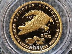 Australia 2006 salt water crocodile 15 dollars gold coin RARE