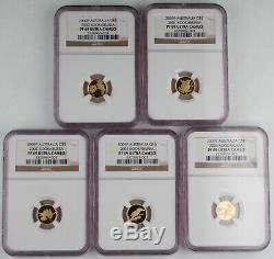 Australia 2009 P KOOKABURRA $5 1/20 Oz Gold 20 Coin Proof Set NGC PF69 Ultra CAM