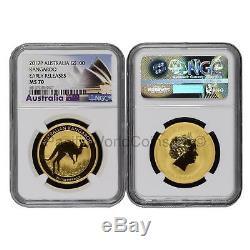Australia 2017 Kangaroo $100 1 oz Gold NGC MS70 ER SKU#6240