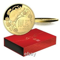 Australia 2020 Lunar Year of the Rat 1oz Gold Proof Domed RAM Coin # 462 of 750