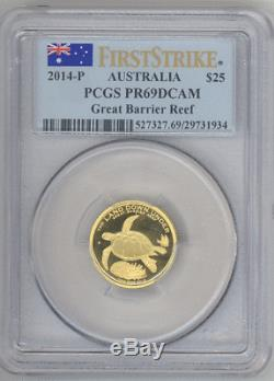 Australia $25 2014-P GREAT BARRIER REEF, TURTLE PCGS-PR69DCAM First Strike gold