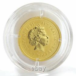 Australia 5 dollars Lunar calendar Year of Monkey colored gold coin 1/20 oz 2004