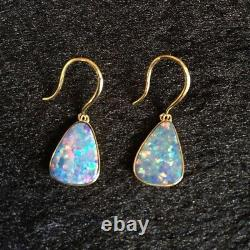 Australia Doublet Sparking Colors Opal Earrings/Dangler 9K Gold 2.41G#12