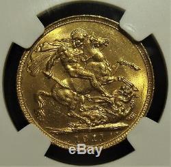 Australia George V gold Sovereign 1911-S MS64 NGC
