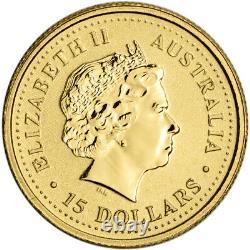 Australia Gold Kangaroo Nugget 1/10 oz $15 BU Random Date