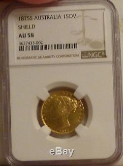 Australia Gold Sovereign 1875-S AU 58 NGC