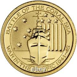 Australia Gold War in the Pacific Battle Coral Sea 1/10 oz $15 BU Random Date
