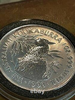 Australian 1/20 Gold Kangaroo 1993 & 1990 Silver 1oz Kookaburra BU RARE