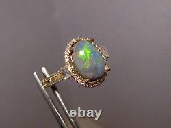 Australian Black Opal. 64 ct Diamond Ring 14k Yellow Gold Ring Size 8 1/4