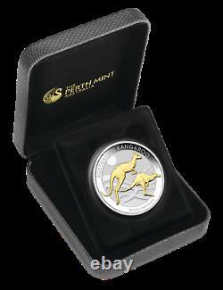 Australian Gilt Gilded 2018 Kangaroo Proof Silver 1 oz Dollar $1 Coin Australia
