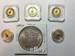 Australian Kangaroo $15 1/10 oz. 9999 Fine Gold BU Total Of 5 Coins For 1/2 Oz! +