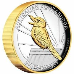 Australian Kookaburra 2020 2oz Silver Proof Gilded High Relief Coin 1 of 1000