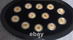 Australian Lunar Series II 1/20oz Gold Coloured Set 12 coins