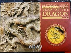 Australian Lunar Series II 2012 Year of the Dragon Gold Proof 3 Coin set