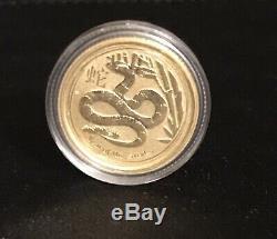 Australian Lunar(Series II)-2013 Year Of The Snake- 1/10 Oz Gold Coin-Perth Mint