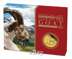 Australian Lunar Series II 2015 Year of the Goat 1/10oz Gold Proof Coin