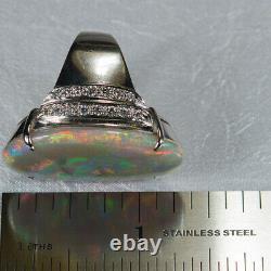 Australian Natural Black Opal Diamond Ring 22.0ctw 18k White Gold