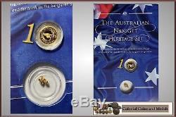 Australian Nugget Heritage Set 1998 1/20oz. Proof coins & Natural Gold Nugget