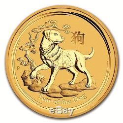 Australian Perth Mint Series II Lunar Gold Tenth Ounce 2018 Dog