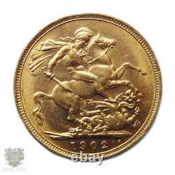 Australian antique full gold sovereign Melbourne 1902 aUnc coin