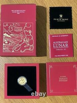 Australian lunar III gold proof pp mouse 2020 1/4 oz CoA box case perth mint