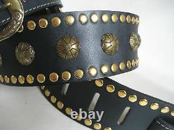 Black Leather Studded Gold Concho Guitar Strap