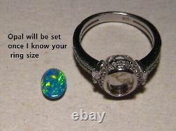 Bright Australian Opal and Diamond Ring 14k white Gold