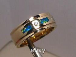 Brilliant Mens Opal & Diamond Wedding Ring Band Heavy 14 k Gold size 11