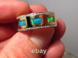 Brilliant Mens Opal & Diamond Wedding Ring Band Heavy 14k Gold