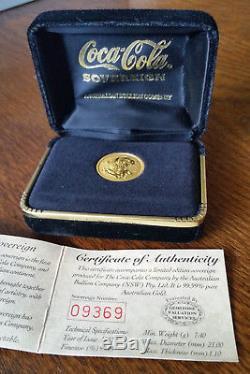 Coca Cola Australian Gold Sovereign Coin 1997 Limited Edition