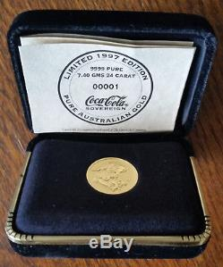Coca Cola Australian Gold Sovereign Coin 1997 Limited Edition